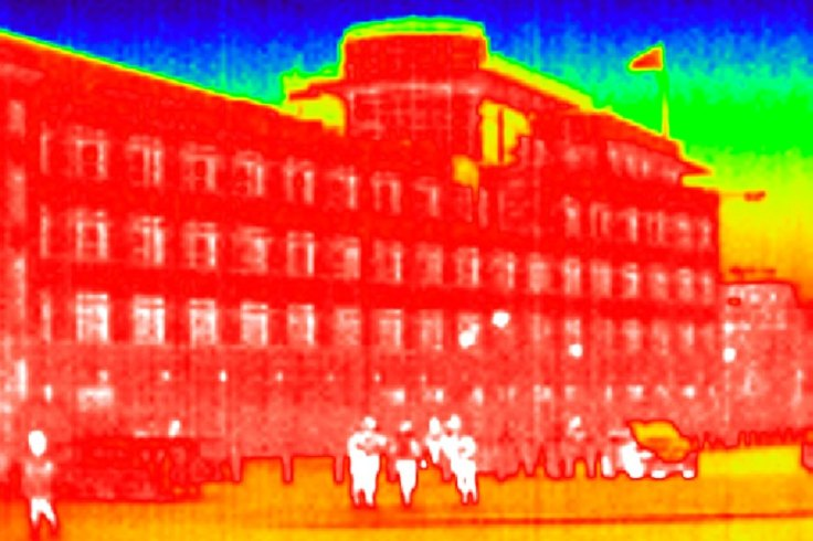 A general view shows the U.S. embassy in a thermal image taken with an infrared camera in Berlin