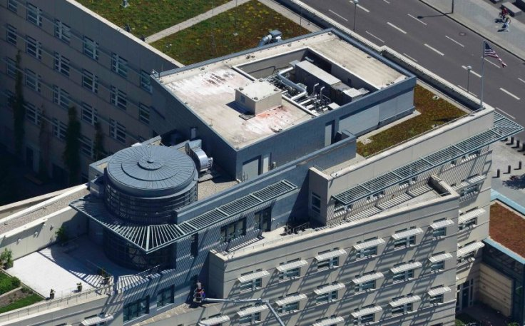 An aerial view shows cleaning works at the U.S. embassy in Berlin