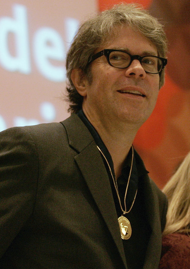 U.S. novelist and essayist Franzen looks on after being awarded with the Carlos Fuentes Literary Salon medal at the International Book Fair in Guadalajara
